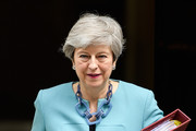 British Prime Minister Theresa May leaves number 10 ahead of PMQs in the House of Commons on June 19, 2019 in London, England. The Conservative leadership contest will enter the next stage later today when a third round of voting is held in Parliament.