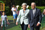 British Prime Minister Theresa May and her husband Philip arrive at her local constituency polling station to vote in the European Elections on May 23, 2019 in Sonning, United Kingdom. Polls are open for the European Parliament elections. Voters will choose 73 MEPs in 12 multi-member regional constituencies in the UK with results announced once all EU nations have voted.