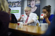 British Prime Minister Boris Johnson speaks to mental health professionals as he visits Watford General hospital on October 7, 2019 in Watford, England. The UK government has pledged billions for new hospital projects across England under plans devised up by Health Secretary Matt Hancock.