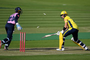 John Simpson of Middlesex stumps Joe Weatherley of Hampshire  during the Vitality Blast match between Middlesex and Hampshire at Lord's Cricket Ground on September 12, 2020 in London, England.