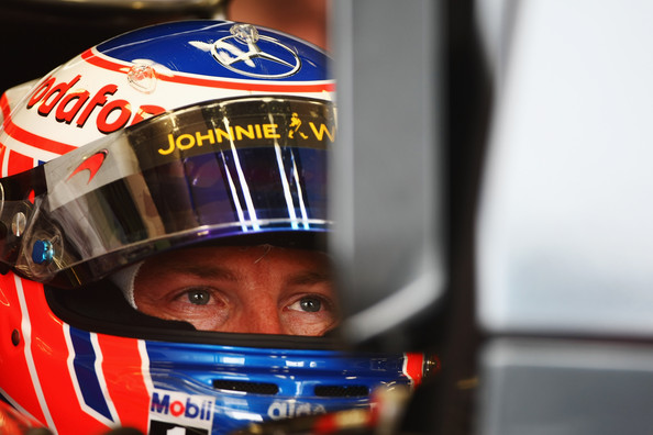 Jenson Button of Great Britain and McLaren Mercedes prepares to drive during the final practice session prior to qualifying for the European Formula One Grand Prix at the Valencia Street Circuit on July 26, 2010, in Valencia, Spain.