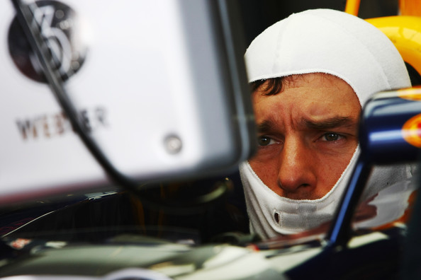 Mark Webber of Australia and Red Bull Racing prepares to drive during the final practice session prior to qualifying for the European Formula One Grand Prix at the Valencia Street Circuit on July 26, 2010, in Valencia, Spain.