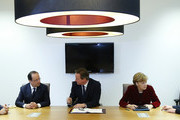 (L-R) Poland's Prime Minister Donald Tusk, France's President Francois Hollande, Britain's Prime Minister David Cameron, Germany's Chancellor Angela Merkel and Italy's Prime Minister Matteo Renzi speak during a meeting to discuss the situation in Ukraine at the European Union Council Building on March 6, 2014 in Brussels, Belgium. The EU leaders are attending an emergency summit in Brussels to decide how they should respond to the deployment of Russian troops in the Crimea. Russian forces have been on the ground in the Crimea since the change of government in Kiev when President Viktor Yanukovych was forced from power.