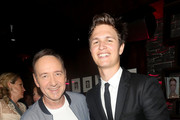 """Kevin Spacey (L) and Ansel Elgort attend the after party for the European Premiere of Sony Pictures """"Baby Driver"""" on June 21, 2017 in London, England."""