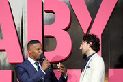 "(L-R) Jamie Foxx and Alex Zane at the European Premiere of Sony Pictures ""Baby Driver"" on June 21, 2017 in London, England."