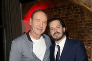 """Kevin Spacey (L) and Edgar Wright  attend the after party for the European Premiere of Sony Pictures """"Baby Driver"""" on June 21, 2017 in London, England."""