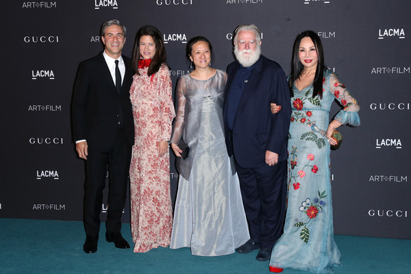 LACMA 2015 Art+Film Gala Honoring James Turrell and Alejandro G Inarritu, Presented by Gucci - Arrivals [premiere,event,fashion,red carpet,carpet,dress,fashion design,formal wear,flooring,gown,james turrell,michael govan,eva chow,alejandro g inarritu,arrivals,kyung turrell,honoree,lacma,gucci,lacma 2015 art film gala]