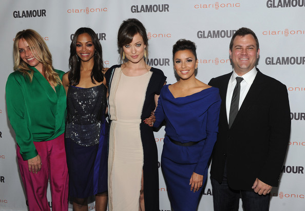 Eva Longoria (L-R) Associate Publisher at Glamour Leslie Russo, Glamour Reel Moments Directors Zoe Saldana, Olivia Wilde and Eva Longoria and Vice President at Clarisonic Chris Payne arrive at the 2011 Glamour Reel Moments premiere presented by Clarisonic held at the Directors Guild Of America on October 24, 2011 in West Hollywood, California.