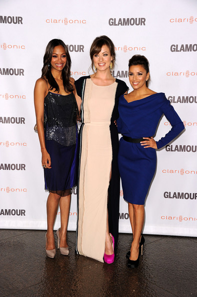 Eva Longoria Actors  Zoe Saldana, Olivia Wilde, Eva Longoria arrive,at Glamour Reel Moments 2011 - held at the Directors Guild of America on October 24, 2011 in Los Angeles, California.