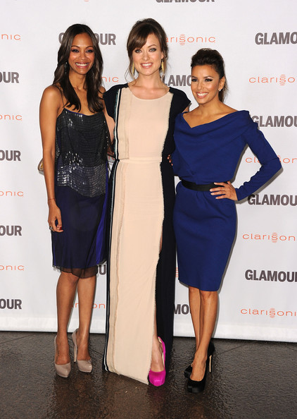 Eva Longoria Actors  Zoe Saldana, Olivia Wilde, Eva Longoria arrive at Glamour Reel Moments 2011 held at the Directors Guild of America on October 24, 2011 in Los Angeles, California.