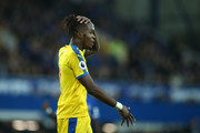 Wilfried Zaha of Crystal Palace reacts during the Premier League match between Everton FC and Crystal Palace at Goodison Park on October 21, 2018 in Liverpool, United Kingdom.