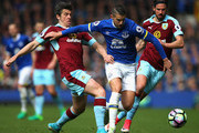 Joey Barton of Burnley and Kevin Mirallas of Everton battle for possession during the Premier League match between Everton and Burnley at Goodison Park on April 15, 2017 in Liverpool, England.
