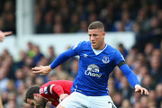 Ross Barkley of Everton and Juan Mata of Manchester United compete for the ball  during the Barclays Premier League match between Everton and Manchester United at Goodison Park on October 17, 2015 in Liverpool, England.
