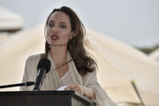 United Nations High Commissioner for Refugees (UNCHR) Special Envoy Angelina Jolie delivers a speech during a press conference after visiting a refugee camp in the border between Colombia and Venezuela on June 8, 2019 in Maicao, Colombia.