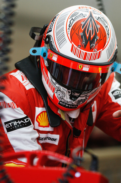 Kimi Raikkonen of Finland and Ferrari prepares to drive during practice for the Hungarian Formula One Grand Prix at the Hungaroring on July 24, 2009 in Budapest, Hungary.