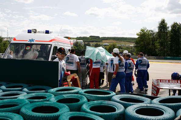 Felipe Massa of Brazil and Ferrari is taken away in an ambulance following his accident during qualifying for the Hungarian Formula One Grand Prix at the Hungaroring on July 25, 2009 in Budapest, Hungary.