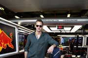 Actor Alexander Skarsgard poses for a photo outside the Red Bull Racing garage before the F1 Grand Prix of Australia at Melbourne Grand Prix Circuit on March 17, 2019 in Melbourne, Australia.