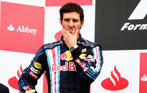 Mark Webber of Australia and Red Bull Racing is seen on the podium after finishing second during the British Formula One Grand Prix at Silverstone on June 21, 2009 in Northampton, England.