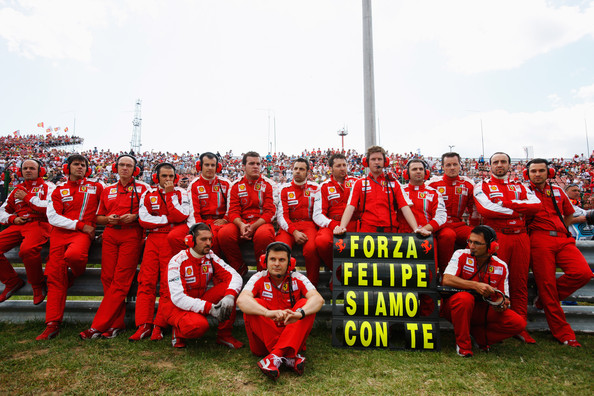 Ferrari team send their support to their injured driver Felipe Massa of Brazil before the Hungarian Formula One Grand Prix at the Hungaroring on July 26, 2009 in Budapest, Hungary.