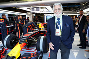 Tenor Placido Domingo poses for a photo outside the Red Bull Racing garage before the Formula One Grand Prix of Italy at Autodromo di Monza on September 3, 2017 in Monza, Italy.