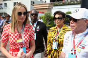Kris Jenner, Corey Gamble, Tommy Hilfiger and Dee Hilfiger in the Paddock before the Monaco Formula One Grand Prix at Circuit de Monaco on May 27, 2018 in Monte-Carlo, Monaco.