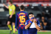 Luis Suarez of FC Barcelona shows his dejection during the Liga match between FC Barcelona and Club Atletico de Madrid at Camp Nou on June 30, 2020 in Barcelona, Spain.