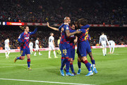 Lionel Messi of FC Barcelona celebrates with his team mates after scoring his team's first goal during the La Liga match between FC Barcelona and Granada CF at Camp Nou on January 19, 2020 in Barcelona, Spain.