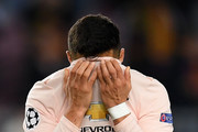Alexis Sanchez of Manchester United reacts after the UEFA Champions League Quarter Final second leg match between FC Barcelona and Manchester United at Camp Nou on April 16, 2019 in Barcelona, Spain.