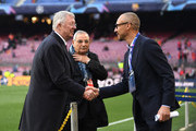 Sir Alex Ferguson is seen on the pitch prior to the UEFA Champions League Quarter Final second leg match between FC Barcelona and Manchester United at Camp Nou on April 16, 2019 in Barcelona, Spain.