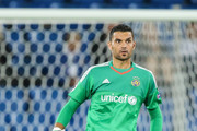 Goalkeeper Juan Pablo of Tel Aviv controls the ball during the UEFA Champions League qualifying round play off first leg match between FC Basel and Maccabi Tel Aviv at St. Jakob-Park on August 19, 2015 in Basel, Switzerland.