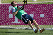 Thomas Mueller exercises during a training session on day 2 of the FC Bayern Muenchen training camp at ASPIRE Academy for Sports Excellence on January 3, 2018 in Doha, Qatar.