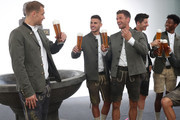 (L-R)  Manuele Neuer, Lucas Hernandez, Thomas Mueller, Robert Lewandowski and David Alaba of FC Bayern Muenchen during the FC Bayern Muenchen and Paulaner photo session at FGV Schmidtle Studios on September 01, 2019 in Munich, Germany.