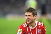 Bayern Munich's German forward Thomas Mueller reacts during the German first division Bundesliga football match between FC Bayern Munich and FC Cologne on December 13, 2017 in Munich, southern Germany. / AFP PHOTO / CHRISTOF STACHE / RESTRICTIONS: DURING MATCH TIME: DFL RULES TO LIMIT THE ONLINE USAGE TO 15 PICTURES PER MATCH AND FORBID IMAGE SEQUENCES TO SIMULATE VIDEO. == RESTRICTED TO EDITORIAL USE == FOR FURTHER QUERIES PLEASE CONTACT DFL DIRECTLY AT + 49 69 650050.