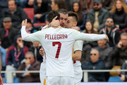 Stephan El Shaarawy of Roma celebrates after scoring his team's opening goal during the serie A match between FC Crotone and AS Roma at Stadio Comunale Ezio Scida on March 18, 2018 in Crotone, Italy.