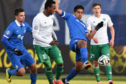 Christian Noboa (R) of FC Dinamo Moscow challenged by Kanu of FC Terek Grozny during the Russian Premier League match between FC Dinamo Moscow and FC Terek Grozny at the Arena Khimki Stadium on November 23, 2014 in Khimki, Russia.