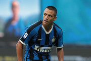 Alexis Sanchez of FC Internazionale looks on during the Serie A match between FC Internazionale and Brescia Calcio at Stadio Giuseppe Meazza on July 1, 2020 in Milan, Italy.