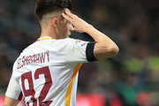 Stephan El Shaarawy of AS Roma celebrates after scoring the opening goal during the Serie A match between FC Internazionale and AS Roma at Stadio Giuseppe Meazza on January 21, 2018 in Milan, Italy.