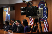Federal Communications Commission Commissioner Michael O'Rielly (3rd L) speaks as (L-R) Commissioner Mignon Clyburn, Chairman Ajit Pai and Commissioner Jessica Rosenworcel listen during a meeting December 14, 2017 in Washington, DC. FCC has voted to repeal its net neutrality rules at the meeting.