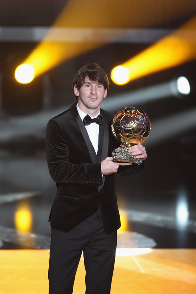 Lionel Messi of Argentina and Barcelona FC receives the men's player of the year award during the FIFA Ballon d'or Gala at the Zurich Kongresshaus on January 10, 2011 in Zurich, Switzerland.