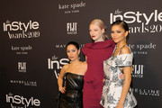 (L-R) Alexa Demie, Hunter Schafer and Zendaya attends the Fifth Annual InStyle Awards with FIJI Water on October 21, 2019 in Los Angeles, California.