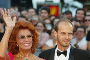 Italian actress Sophia Loren and her son Edourdo Ponti attend the opening ceremony of the 59th Venice Film Festival August 29, 2002 in Venice, Italy. The annual film festival, which runs for 10 days, is one of the oldest and most prestigious cinema events in Europe. It traditionally showcases non-Hollywood films.
