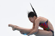 Lin Qu and Han Wang of China compete in the Women's 3m Synchro Springboard Final during the FINA Diving Grand Prix on November 1, 2015 on the Gold Coast, Australia.