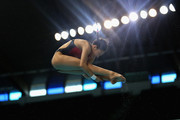 FILTER USED)  Han Wang of China dives in the Women's 3m Springboard finals during day two of the FINA/NVA Diving World Series 2014 at the Hamdan Sports Complex on March 21, 2014 in Dubai, United Arab Emirates.