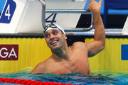 Chad le Clos of South Africa celebrates during the Men's 100m Butterfly final on day one of the FINA Swimming World Cup at Duna Arena on October 4, 2018 in Budapest, Hungary.