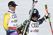 Mathieu Faivre of France, Tessa Worley of France win the gold medal during the FIS Alpine Ski World Championships Nation Team Event on February 14, 2017 in St. Moritz, Switzerland