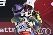 Maria Pietilae-holmner of Sweden competes, Tessa Worley of France celebrates during the FIS Alpine Ski World Championships Nation Team Event on February 14, 2017 in St. Moritz, Switzerland