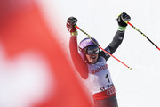 Tessa Worley of France celebrates as she wins gold in the Women's Giant Slalom during the FIS Alpine World Ski Championships on February 16, 2017 in St Moritz, Switzerland.