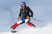 Tessa Worley of France inspects the course during the FIS Alpine Ski World Championships Women's Super-G on February 07, 2017 in St. Moritz, Switzerland
