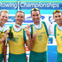 Benjamin Cureton Photos - Anthony Edwards, Samuel Beltz, Benjamin Cureton and Todd Skipworth of Australia celebrate winning the Lightweight Men's Four final during day six of the FISA Rowing World Championships at Lake Bled on September 2, 2011 in Bled, Slovenia. - FISA Rowing World Championships - Day Six