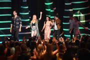 """(L-R) Matthew Daddario, Katherine McNamara, Emeraude Toubia, and Alberto Rosende accept the Choice Sci-Fi/Fantasy Show award for """"Shadowhunters: The Mortal Instruments"""" onstage during FOX's Teen Choice Awards at The Forum on August 12, 2018 in Inglewood, California."""